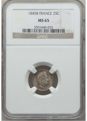 FRANCE - Louis Philippe 1845-B Silver 25 Centimes NGC MS65, Rouen Mint, Toning
