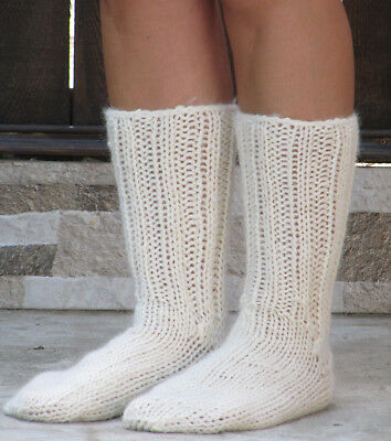 100% natural organic wool CREAM socks thick hand knit unisex leg warmers soft