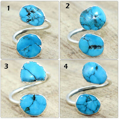 Lovely Natural Arizona Turquoise Silver Plated Adjustable Ring Handmade Jewelry