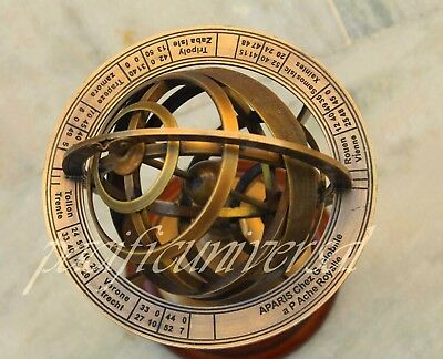 """5"""" Nautical Brass Sphere Engraved Armillary Antique Vintage Globe With Compass"""