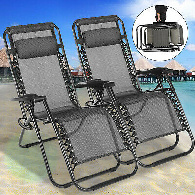 2 PCS Zero Gravity Folding Lounge Beach Chairs Outdoor Recliner in Dark Brown