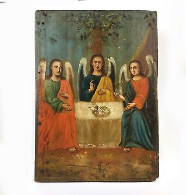 Antique Icon Holy Trinity Orthodox Russian Wood Past centyry 248 x 180 mm