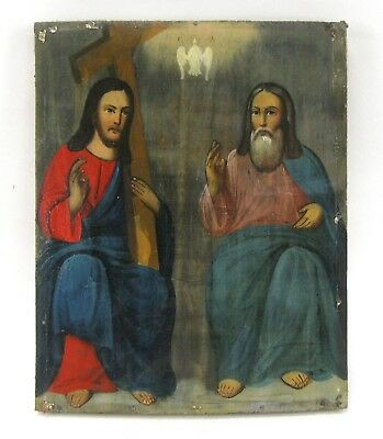 Antique Icon Trinity Orthodox Russian Empire Wood 265x215 mm