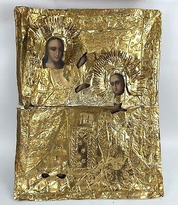 Big Icon Annunciation Blessed Virgin Mary Orthodox Russian Empire Wood 360x265mm