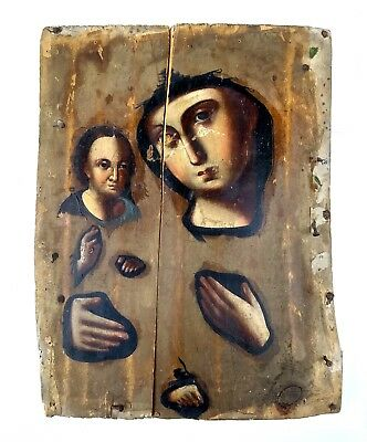 Antique Icon Mother of God Orthodox Russian Empire Wood 265x200 mm