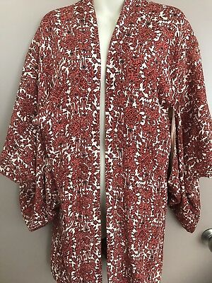 JAPANESE SILK HAORI (KIMONO JACKET) Autumn Red Tones Made In Japan
