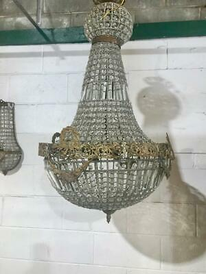Large French Style Glass Crystal Basket Chandelier With Brass Jester Detail
