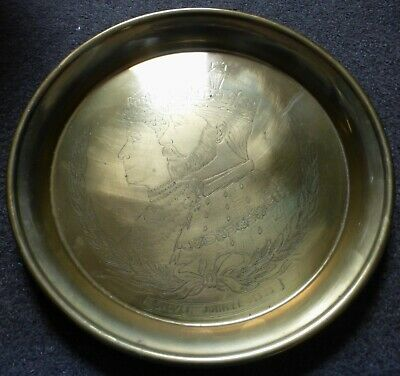 Vintage George V And Queen Mary Silver Jubilee 1935 Brass Plaque / Tray (Bc10)