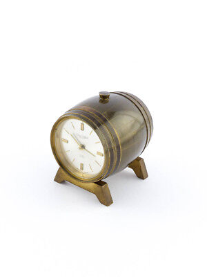 Swiza Table Clock with 8 day movement and alarm, beer / whisky barrel, 1960s