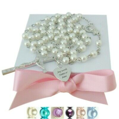 Personalised Rosaries, Engraved Pearl Rosaries, Any Name, First Communion Gift
