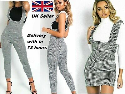 New Ladies Women Check Frill Ruffle black DogTooth Pinafore mini Dress Jumpsuit
