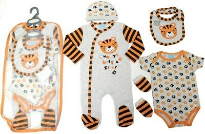 5 Piece Baby Boys Clothing Layette Gift Set 'Tiger' Design Size Newborn