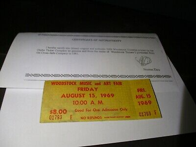 ORIGINAL WOODSTOCK TICKET August 15, 1969 Friday 1st day  Peace Love Music G75