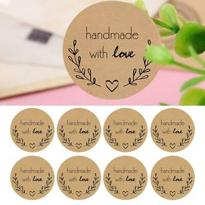 500PCS Round Natural Kraft Handmade With Love Stickers Thank You Stickers 2.5cm