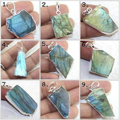 Wonderful Rainbow Labradorite Silver Plated Pendant Necklace Charm Jewelry