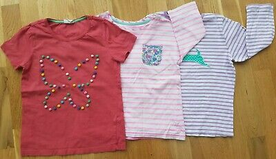 Mini Boden Joules 9-10 yrs girls pink white stripe t-shirt top butterfly pom pom