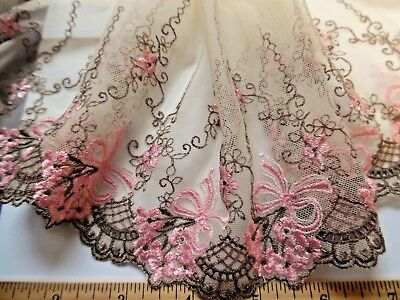 """EMBROIDERED SOFT NETTING~BROWN/PINK/ECRU~7""""w~BY THE YARD~DOLL's"""