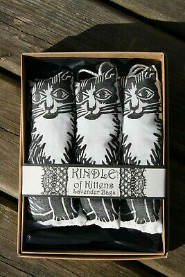 Lavender Bags Sachets with Kitten Lino Cut Print