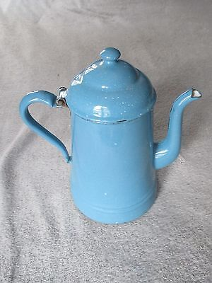 Vintage Blue White Speckled Enamelware Graniteware Coffee Pot Teapot.