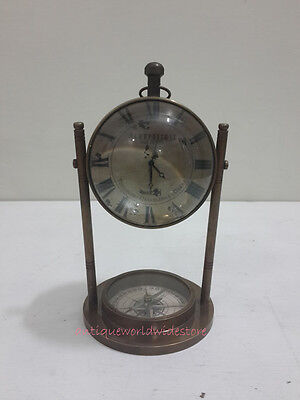 Antique AEROPOSTALE  Table Clock With  Antique Compass
