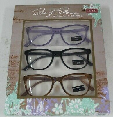 5be80e3311cf MARILYN MONROE 3 Pairs Reading Glasses Readers Mlt-Color +2.00 New ...