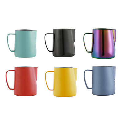 6Pcs Coffee Milk Frothing Pitcher Stainless Steel Latte Making Pitcher Cups