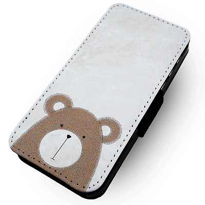 Bear Illustration - Faux Leather Flip Phone Case #1 - Animal Children Kids Art