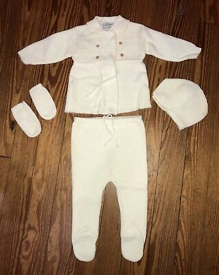 Vintage Baby 5pc. Knitted Winter Outfit White Suit Mittens Cap 12 Mos ?