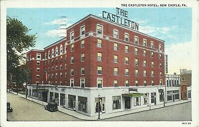 The Castleton Hotel New Castle Lawrence County Pennsylvania 1937 Postcard