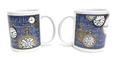 2 ART DECO HF Old World Time Clock Stop Watch Blue Porcelain Cafe Cup Mugs NEW