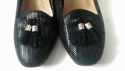 Size 4 VAN DAL Black  Leather Slip On Wedge Textured Quality Shoes 2 inch Heel