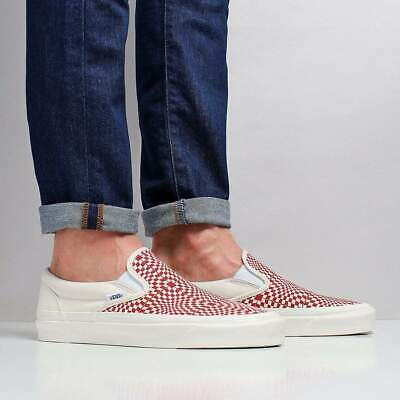 Vans Men's New Classic Slip-On 98 DX Canvas Shoes Red White Warp Checkerboard