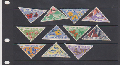 Great Britain 11 Local Herm Island 1954 Triangle Butterflies Fish,Animals,Flower