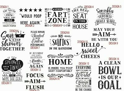 Toilet Quotes funny joke novelty decals sticker bathroom shower home family wall