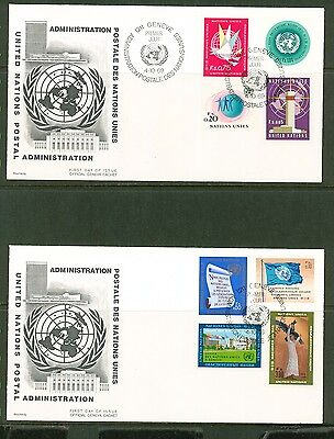 UN -Geneva 1969: #1-5,8,11,13 on 2 UA Cachet FDCs - Lot#3/19