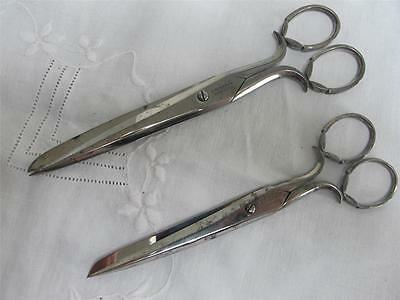 2 X Pairs of Antique Victorian Sewing Scissors Large Graduated Steel Leaf Design