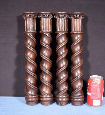 "*Set of Four 15"" French Antique Solid Oak Posts/Pillars/Columns/Balusters"