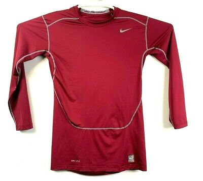 Careful Men's Nike Pro Combat Fitted Athletic Long Sleeve Shirt Sz S Red Activewear Men's Clothing