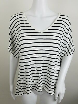 8a098bbca0 Mossimo Juniors Shirt Size XL Loose Fit Dolman Black White Striped Short  Sleeve