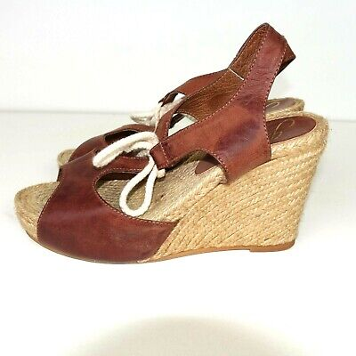 68d4dfbe4e12 Gaimo Womens Espadrilles Wedge Heels Sandals Leather Lace Up Brown Size 39 M
