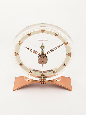 Rare Jaeger-LeCoultre table clock with 8 day inline movement ,art deco, 1940´s