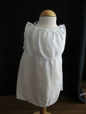 Antique Apron Pinny Pinafore Edwardian Young Girls Emboidered Cotton c1910