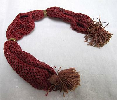 Antique Misers Purse Victorian Brass Red Knitted Fringe Stocking Bag c1850