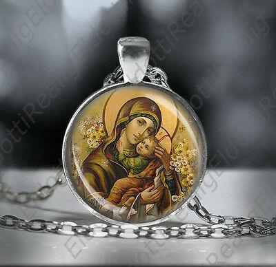 Theotokos Madonna Mother Mary holding Baby Jesus Necklace Orthodox Icon Medal