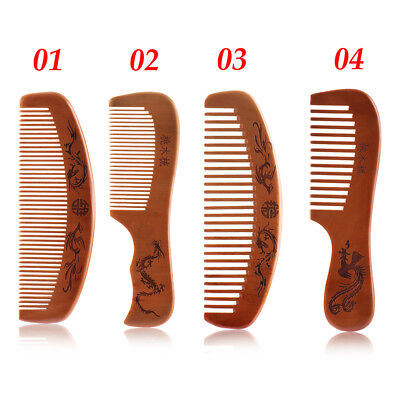 2019 Handcrafted Natural Peach Wood Comb No Static Pocket Beard Mustache Comb ~