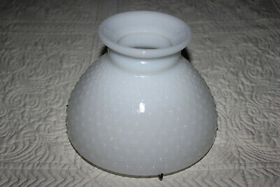 """8"""" Hobnail White Milk Glass Hurricane Table Lamp Shade with Metal Holder"""