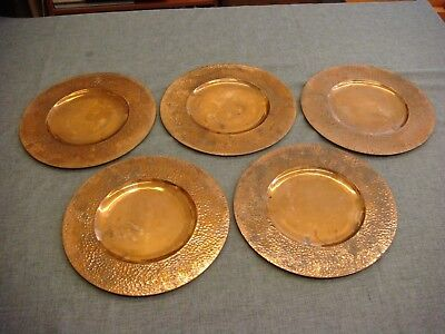 """5 Restel Copper Hammered Arts & Crafts Charger Plate Plateado Mexico 12-1/2"""""""