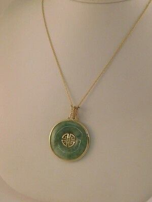 Jade 14K Gold Round Pendant Necklace Chain Chinese Characters Hong Kong Box
