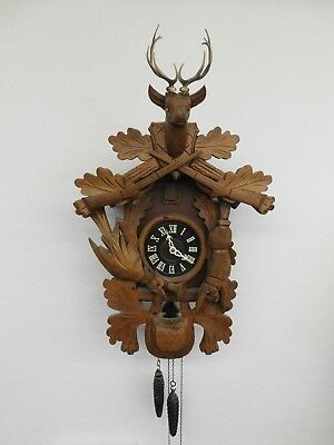 Vintage Black Forest Cuckoo Clock Hunting Theme Gun Rifle Rabbit