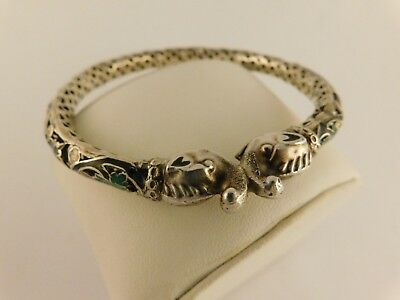 Sterling Silver Elephant Bangle Bracelet Enamel Filigree Vintage Art Deco